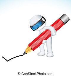 matita, vettore, uomo, 3d