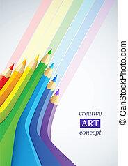 matite, arte astratta, colore, fondo