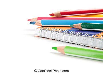 matite, bianco, quaderno, fondo