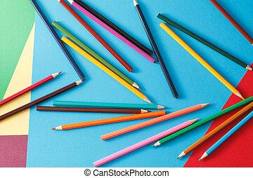 matite, carta, colorato