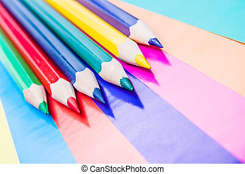 matite, carta, colorato, colorito