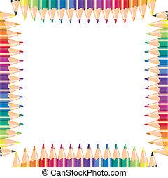 matite, colorare, illustrazione, vettore