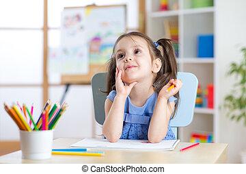 matite, colorare, sognante, ragazza, disegno, capretto
