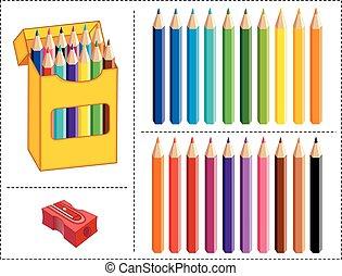 matite colorate, scatola, colori, 20