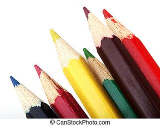 matite, colore, bianco, isolato, fondo