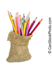 matite, colore, quaderno, sfondo bianco