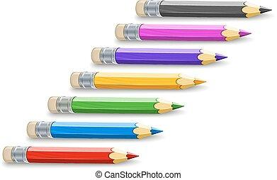matite, colore, set, disegno
