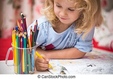 matite, colorito, bambino, ritratto, ragazza, disegno