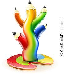 matite, concetto, arte, colore, albero, creativo