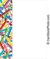 matite, cornice, colorato, lato