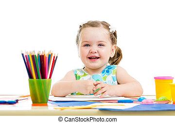 matite, felice, disegno, capretto