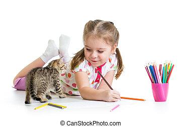 matite, gioco bambino, disegno, gattino