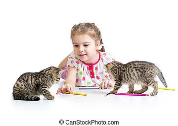 matite, gioco, disegno, capretto, gattini