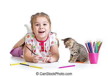 matite, gioco, ragazza, gatto, disegno, capretto