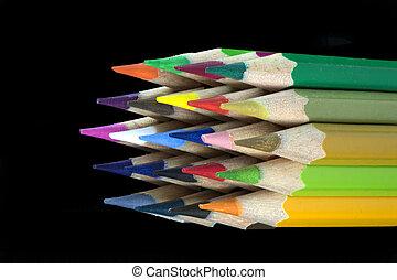 matite, lato, colorato, vista