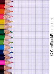 matite, multicolor, carta