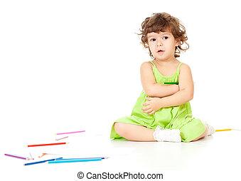 matite, piccola ragazza