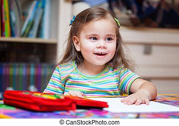 matite, poco, felice, ragazza, disegno