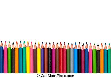 matite, primo piano, isolare, colorato
