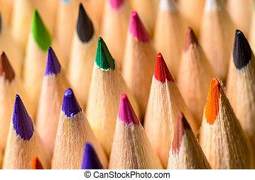 matite, primo piano, lato, colorato, foto