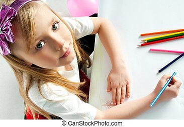 matite, ragazza