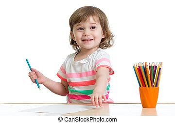 matite, ragazza, capretto