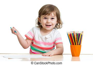 matite, ragazza, capretto, disegno, felice