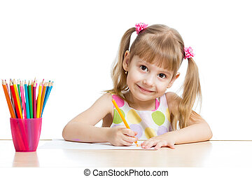 matite, ragazza, colorito, disegno, bambino