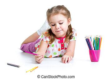 matite, ragazza, disegno, capretto