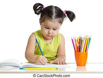 matite, ragazza, sognante, capretto