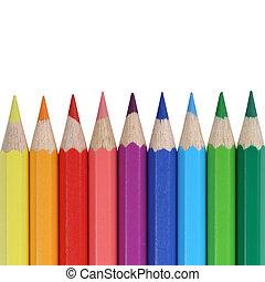 matite, scuola, colorato, copyspace, provviste, fila