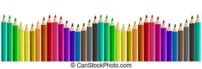 matite, set, arcobaleno, isolato, seamless, onda, colorato, lato