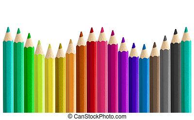 matite, set, arcobaleno, isolato, seamless, onda, formare, colorato, lato