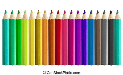 matite, set, isolato, colorato, seamless, lato
