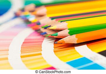 matite, tutto, colorato, colore, colori