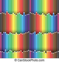 matite, vettore, organizzato, colorito, matita, questo, graphic., contiene, spettro, illustrazione, seamless, colori, background-, pastello, icone, o