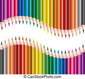matite, vettore, set, colorato