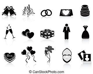 matrimonio, set, nero, icone