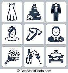 matrimonio, vettore, set, isolato, icone