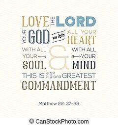 matthew, stampa, citazione, amore, anima, o, dio, tutto, circa, bibbia, cuore, zigzag, fondo, uso, manifesto, tipografia, mente