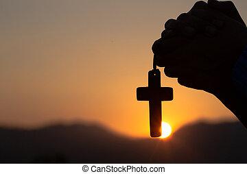 mattina, pregare, uomo santo, croce, giovane