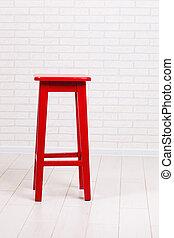 mattone, fondo, parete, sedia, rosso