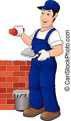 mattone, lavoratore, costruzione, costruzione, wall., uomo, uniforme