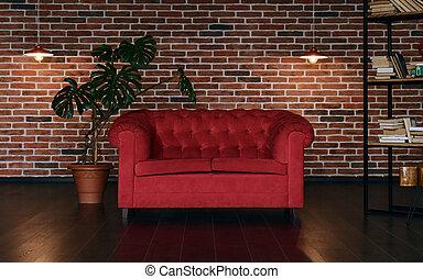 mattone, stile, soffitta, parete, stanza, interno, pianta rossa, divano, classico