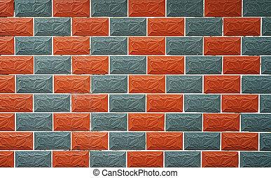 mattone, struttura, fondo, parete rossa