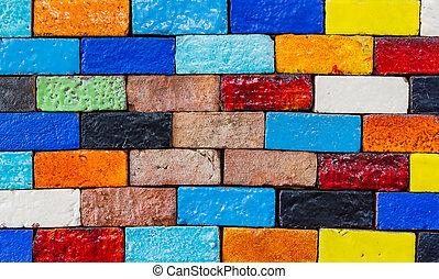 mattone, struttura, vecchio, parete, fondo., colorito