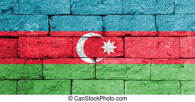 mattone, wall., vecchio, azerbaijan, bandiera