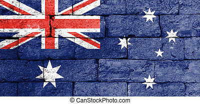 mattone, wall., vecchio, bandiera, australia