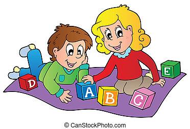 mattoni, bambini, due, gioco