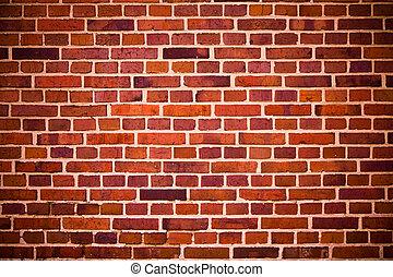 mattoni, parete, rosso